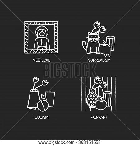 Art Movements Chalk White Icons Set On Black Background. Surrealism And Cubism Styles. Medieval Port