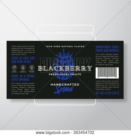 Handcrafted Fruit And Berry Spread Or Jam Label Template. Abstract Vector Packaging Design Layout. M