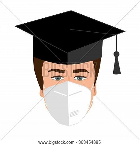 University Graduate Student In Bonnet And Medical Mask. Quarantine 2020 Graduation Concept. Guy Grad