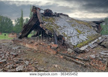 Auschwitz-birkenau, Poland - May 15, 2019: Destroyed Former Gas Chambers In Ww2 Nazi Concentration A
