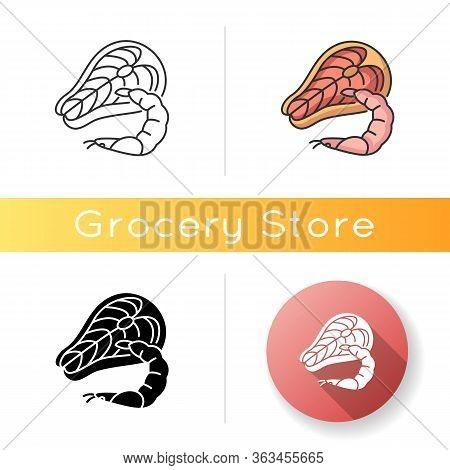 Seafood Icon. Tuna Raw Steak. Fresh Shrimp. Mediterranean Cuisine. Cooking Recipe Ingredient. Marine