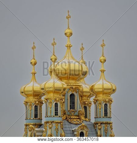 Golden Domes Of The Court Church Of The Catherine Palace In Pushkin.