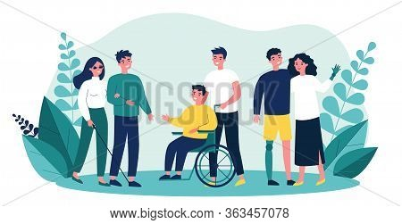 Volunteers Helping Disabled People. Group Of Men And Women With Special Needs, On Wheelchair, With P