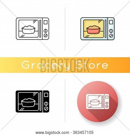 Ready Meal Icon. Microwave Food. Heated Popcorn In Bowl. Meal Preparation. Kitchenware Electric Uten