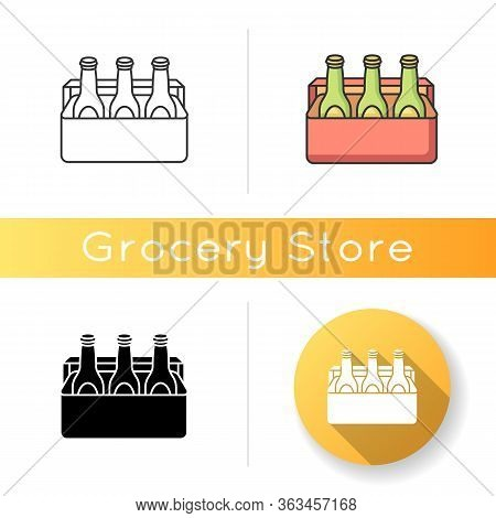 Beer Icon. Alcoholic Beverage In Cooler. Booze In Package. Drinks In Box. Party Refreshment Pack. Sp