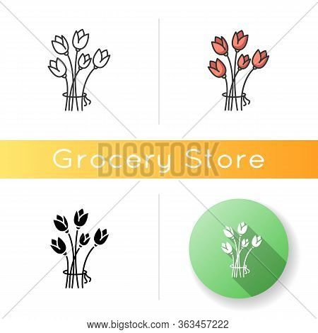 Flowers Icon. Bouquet For Greeting. Romantic Present. Gift For Valentine. Blooming Tulips. Flourishi