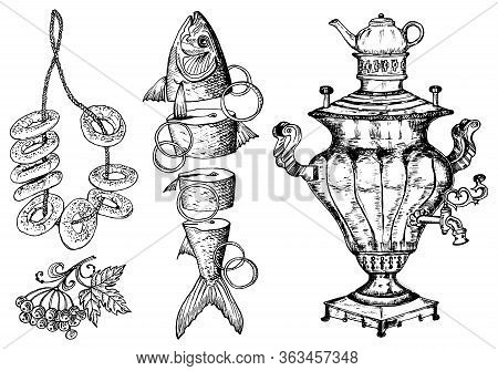 Traditional Russian Food. Sushki And Sliced Fish With Lemon, Sturgeon And Samovar. Moscow Cuisine. H