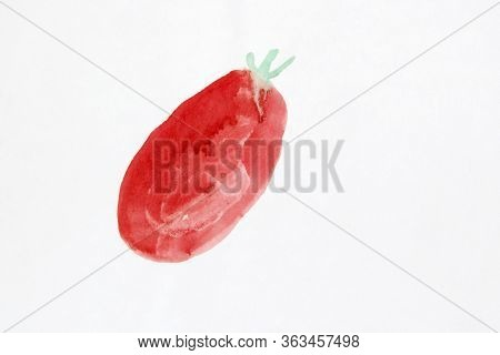 Children Drawing With Red Tomato On White Background. Artwork With Drawing