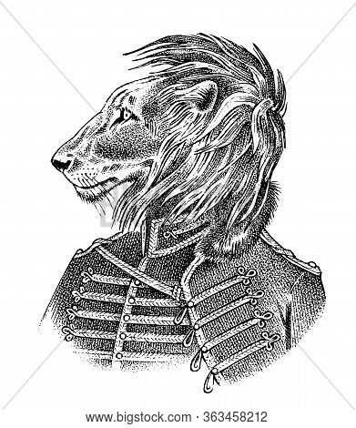 Lion Dressed Up In Military Style. Fashion Animal Character Sketch. Hand Drawn Anthropomorphism. Vec