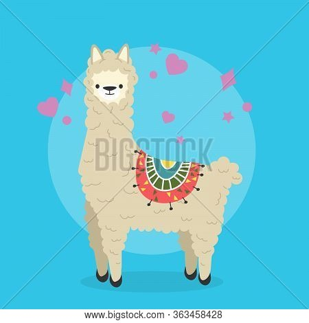 Cute Cartoon Lama Alpaca Vector Illustration. Unique Design For Cards, Posters, T-shirts, Invitation