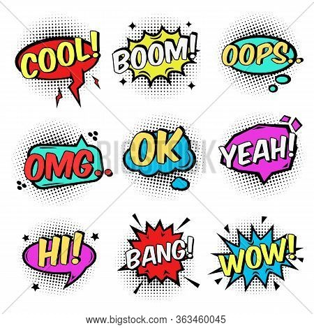 Comic Text Speech Bubbles And Bursts Set. Cool, Boom, Ok, Hi, Wow, Bang, Omg Surprising Expressions