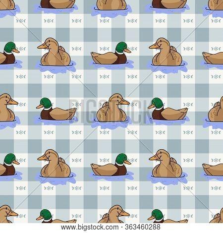 Cute Cartoon Duck And Mallard Pond Seamless Vector Pattern. Wildlife Animal Waterfowl For Nature Lov
