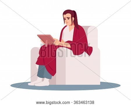 Sad Lady Holding Photo Semi Flat Rgb Color Vector Illustration. Lonely, Stressed Woman Sitting In Ch