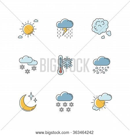 Sky Clarity And Precipitation Rgb Color Icons Set. Seasonal Weather Forecast, Meteorological Report.
