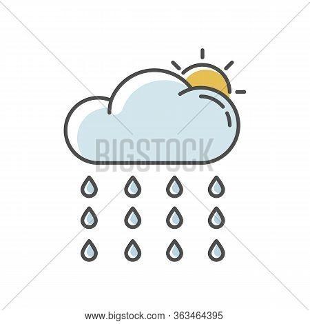 Drizzle Rgb Color Icon. Rainy Season, Summer Rain, Meteorology. Weather Forecast, Atmospheric Precip