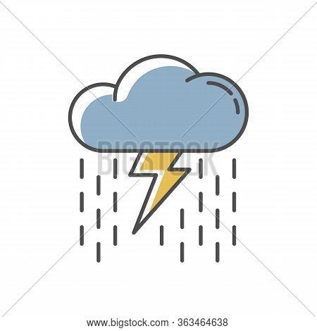 Heavy Showers Rgb Color Icon. Weather Prediction, Meteo Forecast. Strong Rainstorm, Cloudburst. Rain