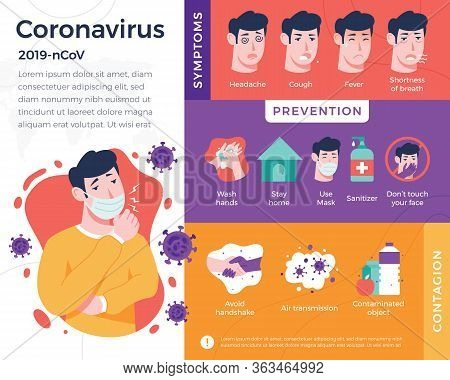 Vector Illustration Coronavirus Infographic. Infographic With Details About Coronavirus With Illustr