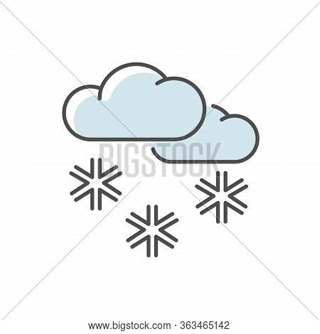 Scattered Snow Blue Rgb Color Icon. Winter Weather Forecast, Meteorology. Wintertime Atmospheric Pre