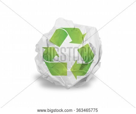 Crumpled Paper Ball Isolated Over White Recycle Sign
