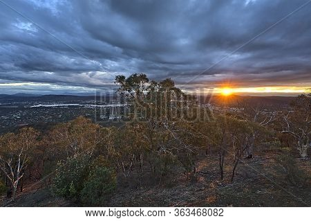 Canberra At Night From Mount Ainslie Lookout And With The Setting Sun
