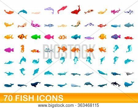 70 Fish Icons Set. Cartoon Illustration Of 70 Fish Icons Vector Set Isolated On White Background