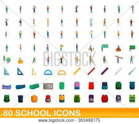 80 School Icons Set. Cartoon Illustration Of 80 School Icons Vector Set Isolated On White Background