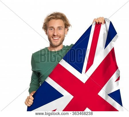 Young Man With Flag Of Great Britain On White Background. Learning English