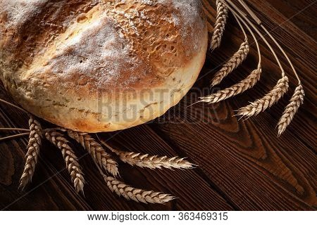 Homebaked Bread. Loaf Of Round Peasant Bread And Spikelets Of Wheat On A Wooden Background. Homemade