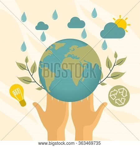 Slide Or Landing Page Layout With Illustration Of The Concept Of Sustainability Or Environmental Pro
