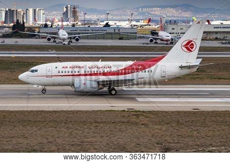 Istanbul / Turkey - March 30, 2019: Air Algerie Boeing 737-600 7t-vjr Passenger Plane Departure At I