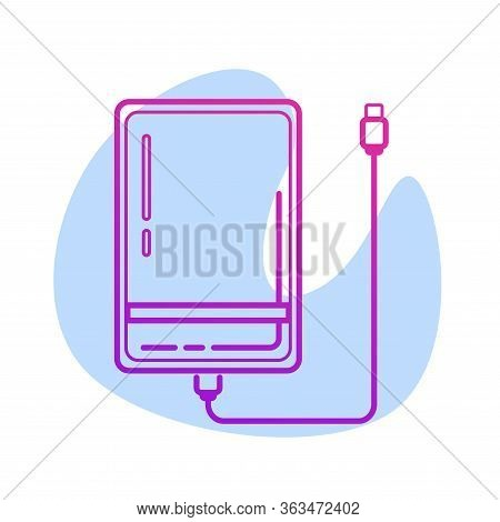 Color Line External Hard Disk Drive Icon With Usb Cable Isolated On White Background. Powerbank For