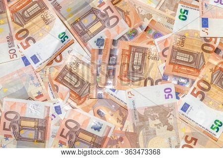 Fifty Euro Banknotes Background Of Euro Currency In Europe. Financial Colorful Background. Concept O