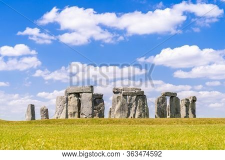 Landscape of Stonehenge England United Kingdom, UNESCO World heritage Site.