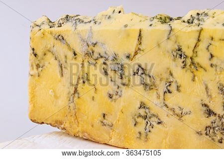 French Roquefort Cheese Isilated On White Background. Close Up.