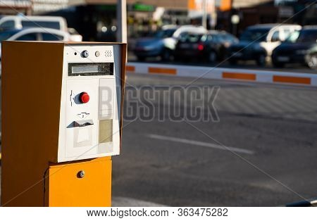 Parking Tickets Machine On A Entree In Parking Area.