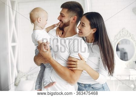 Beautiful Family Spend Time In A Bathroom