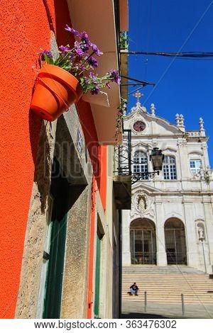 Lisbon, Portugal- March 7, 2020:beautiful Nossa Senhora Das Merces Church Facade In Lisbon