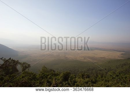 Panorama View Over The African Steppe On A Hazy Day