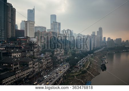 CHONGQING, CHINA – MARCH 13: Aerial view of city skyscrapers on March 13, 2018 in Chongqing. With 17M population, it is the most populous Chinese municipality.