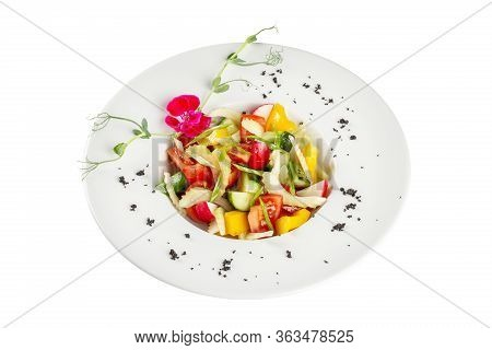 Diet Salad Made From Fresh Spring Vegetables. Tomatoes, Cucumber, Peppers, Herbs, Radishes. We Cook