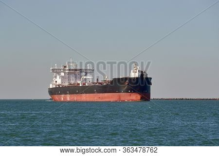 Large crude oil tanker ship coming into port from the North Sea
