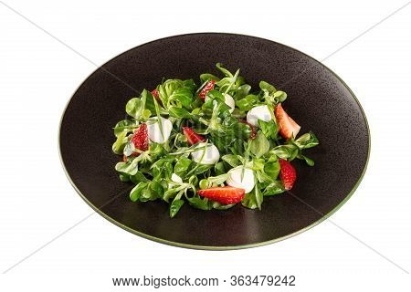 Fresh Spring Salad With Strawberries, Mozzarella Cheese And Herbs. Healthy Food, Natural Products. D