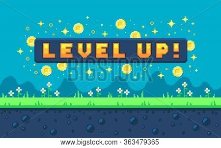 Pixel Art Design With Outdoor Landscape Background. Colorful Pixel Arcade Screen For Game Design. Ba