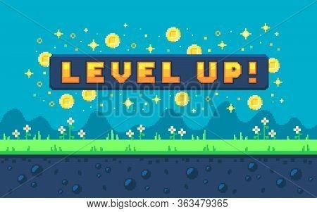 Pixel Art Design With Outdoor Landscape Background. Colorful Pixel Arcade Screen For Game Design. Ba