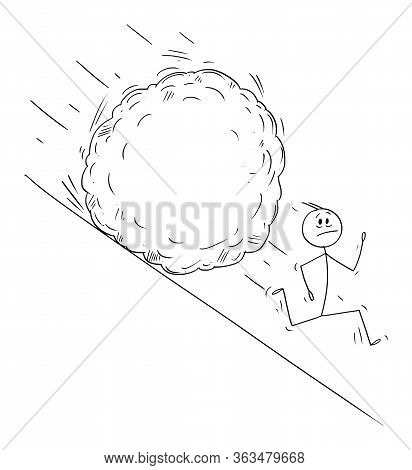 Vector Cartoon Stick Figure Drawing Conceptual Illustration Of Stressed Man Or Businessman Running A