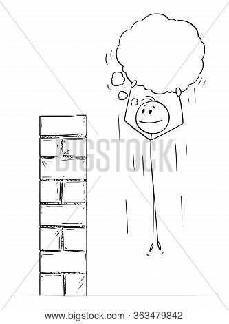 Vector Cartoon Stick Figure Drawing Conceptual Illustration Of Man Or Businessman Overcoming Obstacl