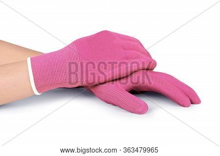 Gloves For Putting On Compression Hosiery. Latex Medical Rubber Gloves. Fabric Knitted Blue Woven Gl