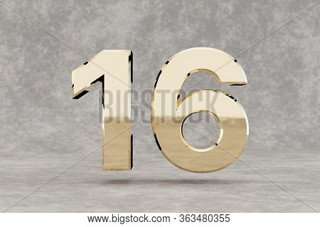 Gold 3d Number 16. Glossy Golden Number On Concrete Background. Metallic Digit With Studio Light Ref