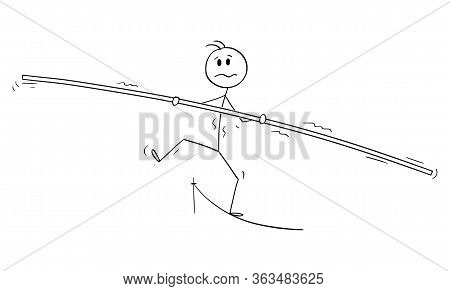 Cartoon Stick Figure Drawing Conceptual Illustration Of Man, Businessman, Cirkus Tightrope Walker Or