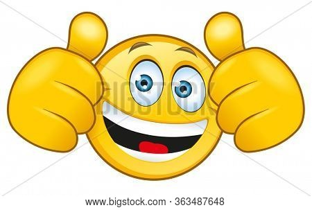 An illustration of a laughing emoji with a thumbs up sign